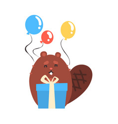 Cute cartoon beaver holding blue gift box and vector