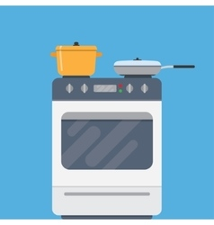Electric oven and saucepans vector