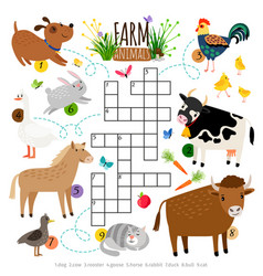 Farm animals crossword kids crossing word search vector