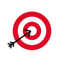Flat icon arrow hitting a target vector