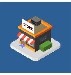 Flat isometric store logo isolated icon vector image