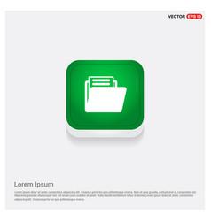 folder icon green web button vector image