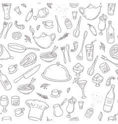 Food and drink outline seamless pattern Hand vector image