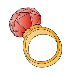 gold ring with big stone vector image