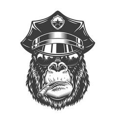 Gorilla head in monochrome style vector