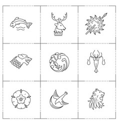 great kingdoms houses heraldic vector image