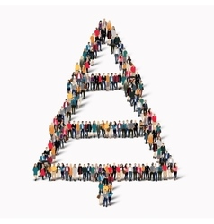 group people shape Christmas tree vector image