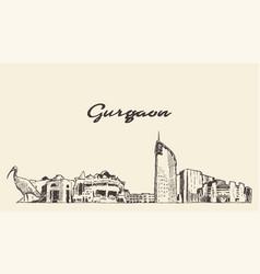 gurgaon skyline haryana india drawn sketch vector image