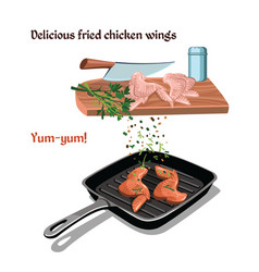 hand drawn chicken preparation concept vector image