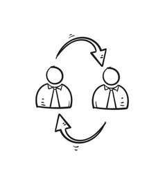 hand drawn doodle people and cycle arrow symbol vector image