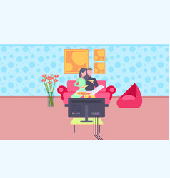 happy couple eating pizza man woman watching tv on vector image