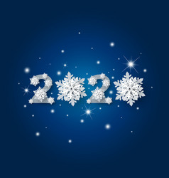 happy new year 2020 with snowflake and snow vector image