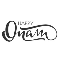 Happy onam indian religious holiday hand written vector