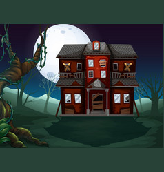 Haunted house in the woods at night vector