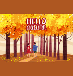hello autumn autumn alley couple guy and girl vector image
