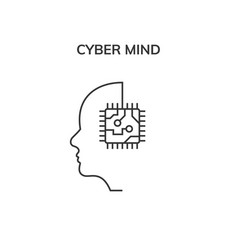 human head cyber mind digital technology cyber vector image