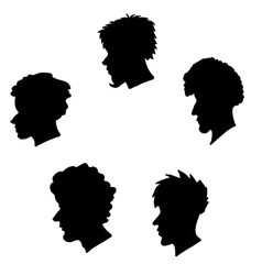 human heads silhouette set vector image