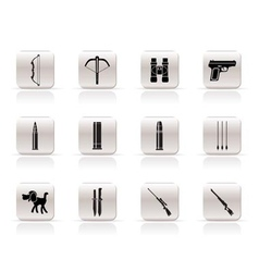 hunting and arms icons vector image