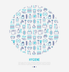 Hygiene concept in circle with thin line icon vector