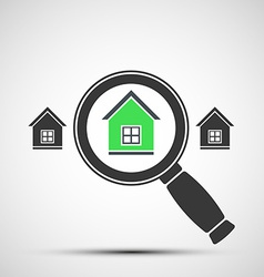 image of a magnifying glass and Real Estate vector image