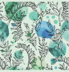 Jungle seamless watercolor pattern with plant vector