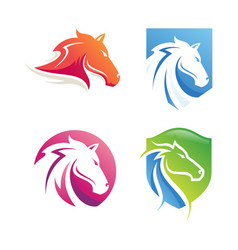 Logo horse head with colorful gradient style vector
