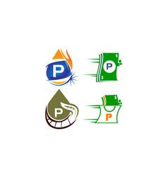 logotype p modern template set vector image