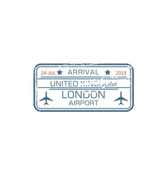 London airport arrival stamp border control seal vector
