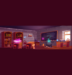 magic school classroom interior with wooden desks vector image
