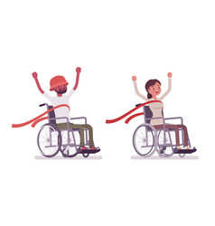 male female young wheelchair user crossing red vector image