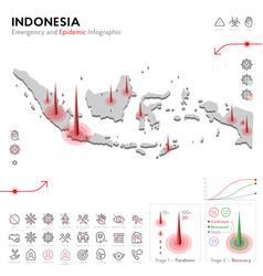 Map indonesia epidemic and quarantine emergency vector