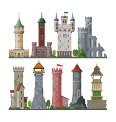medieval tower cartoon castle fairytale of vector image