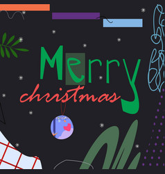 merry christmas text on dark background vector image