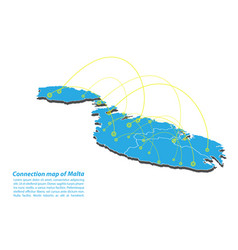 Modern of malta map connections network design vector
