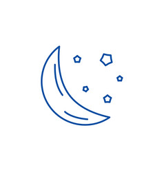 moon line icon concept moon flat symbol vector image