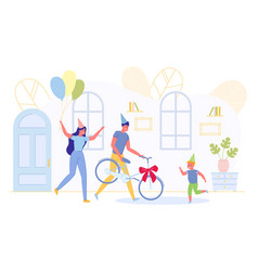 mother and father give bicycle as present for son vector image