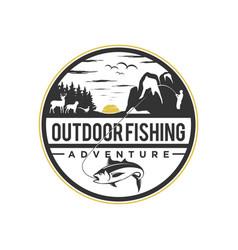 Mountain logo outdoor fishing emblem circle vector