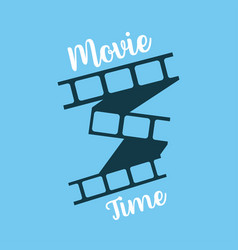 movie time film strip icon poster or flyer for vector image