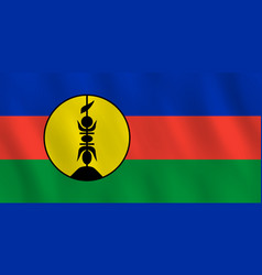 New caledonia flag with waving effect official vector