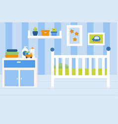 nursery room interior apartment in blue colors vector image