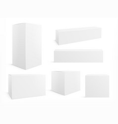 packaging box white boxes pack 3d packages for vector image