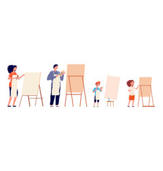 painters family painting children and adults vector image