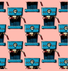 pattern with coffee machines vector image