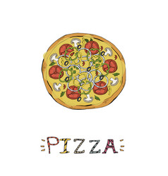 pizza fast food italian food vector image