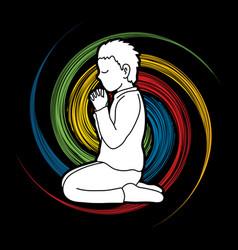 prayer christian praying thank you god vector image
