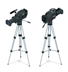 Professional digital video camera set on a tripod vector image