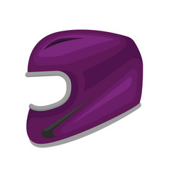 Purple motorcycle helmet protective headgear for vector