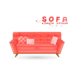 red vintage sofa in watercolor couch vector image
