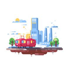 retro tram on cityscape background vector image