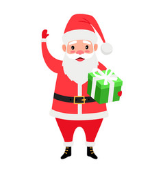 santa and gift box vector image